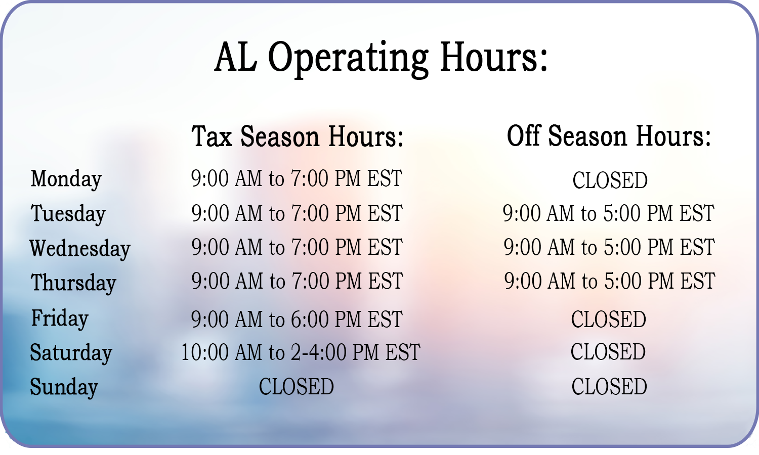 Alabama Business Hours