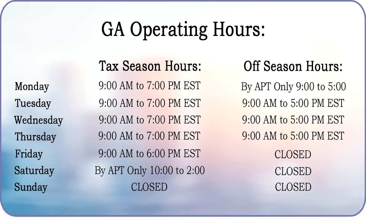 Georgia Business Hours